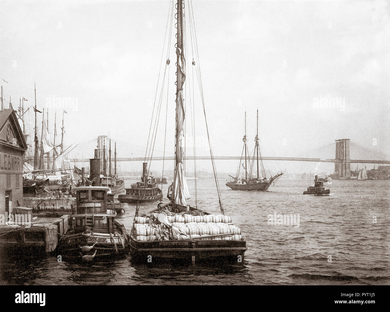 The East River Bridge, New York, United States of America.  After an anonymous photograph taken circa 1880's. - Stock Image