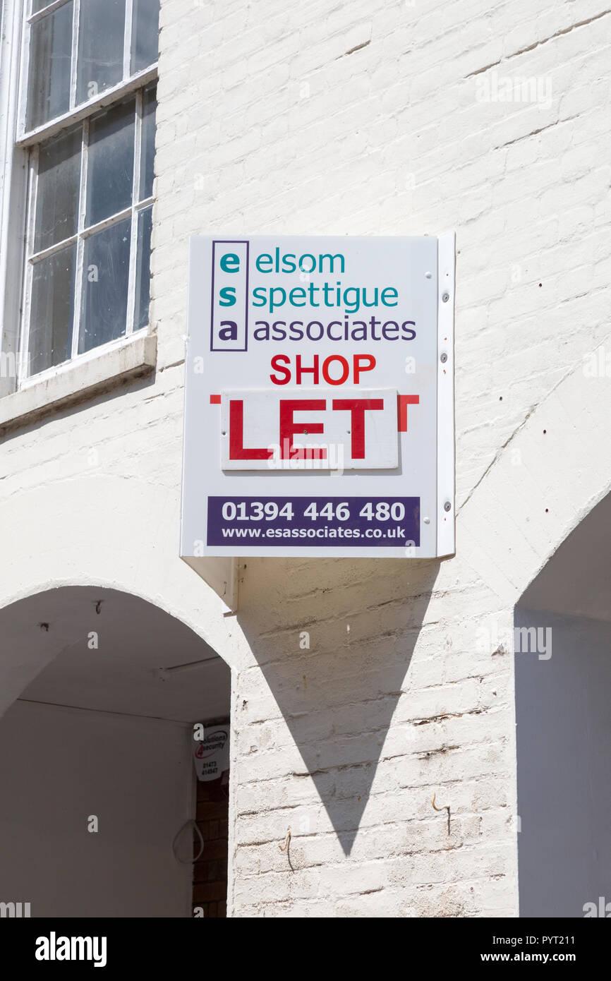 Elsom Spettigue Associates shop let estate agent sign, Woodbridge, Suffolk, England, UK - Stock Image