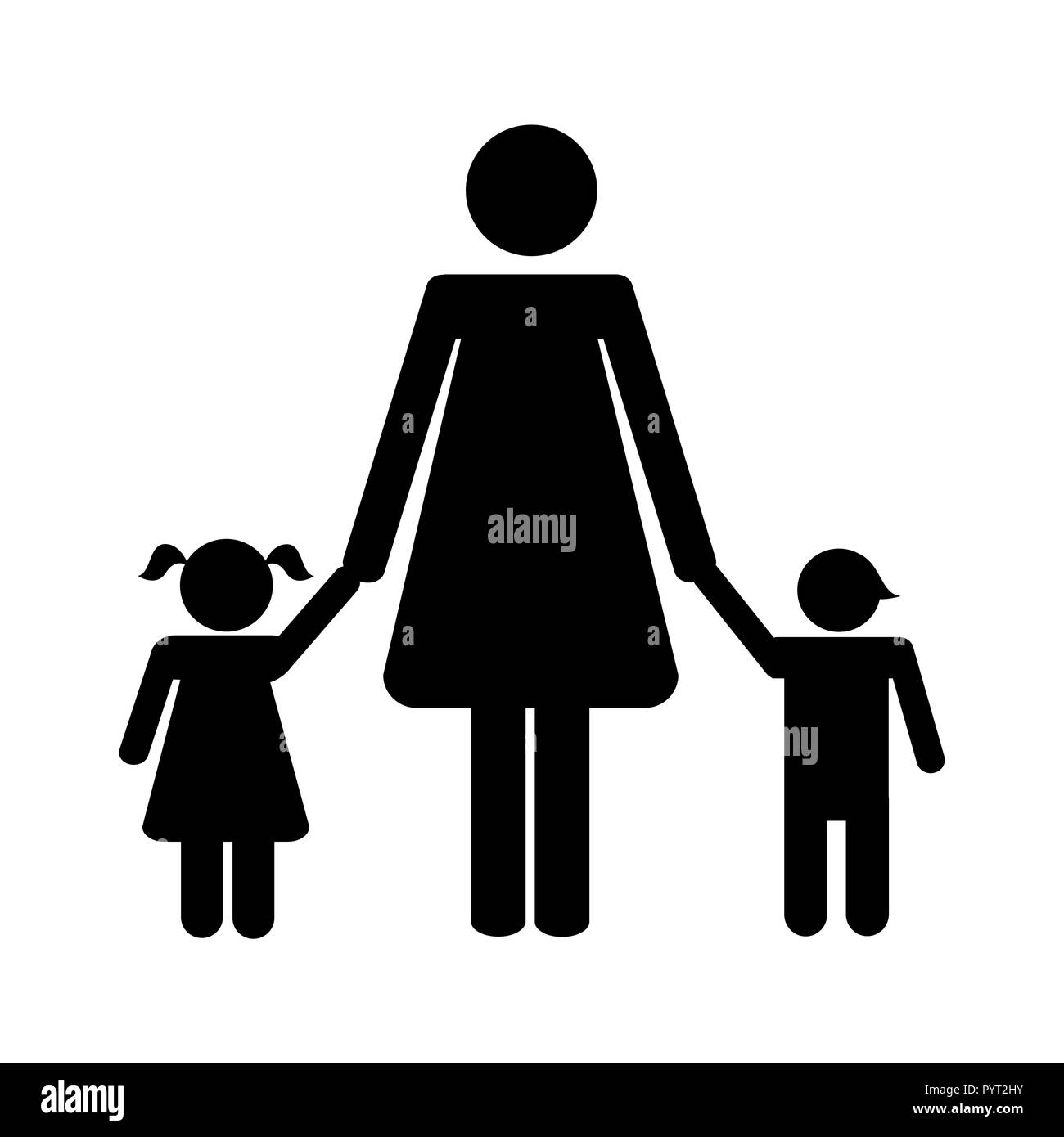 mother with two children pictogram vector illustration EPS10 - Stock Vector