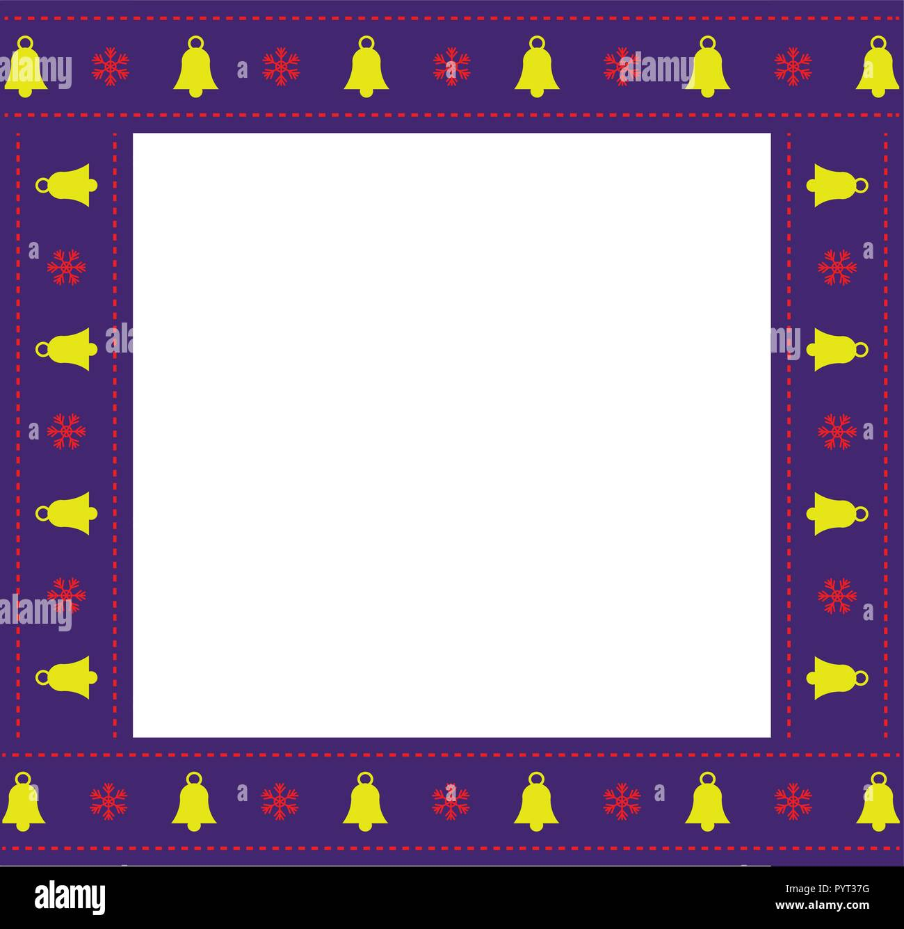 cute christmas or new year festive square border photo frame with bells and snowflakes lace pattern on ribbon isolated on white background vector il