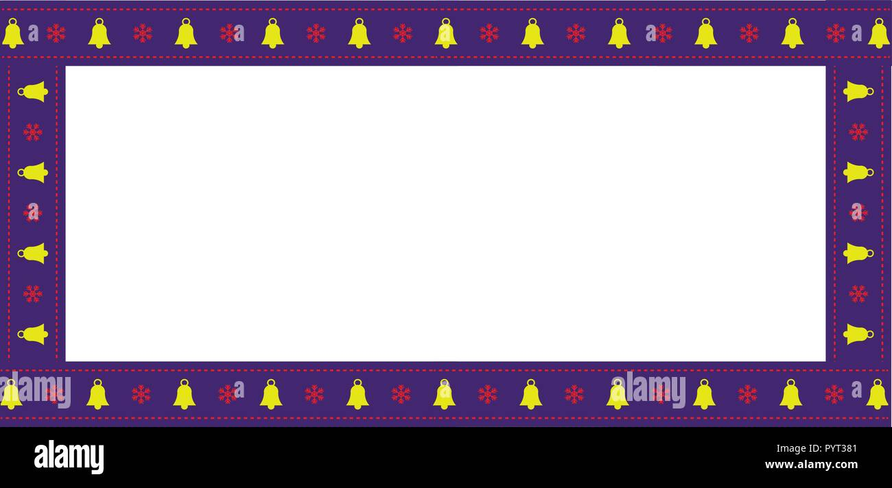 cute christmas or new year rectangle billboard border frame with bells and snowflakes pattern isolated on white background vector illustration ban