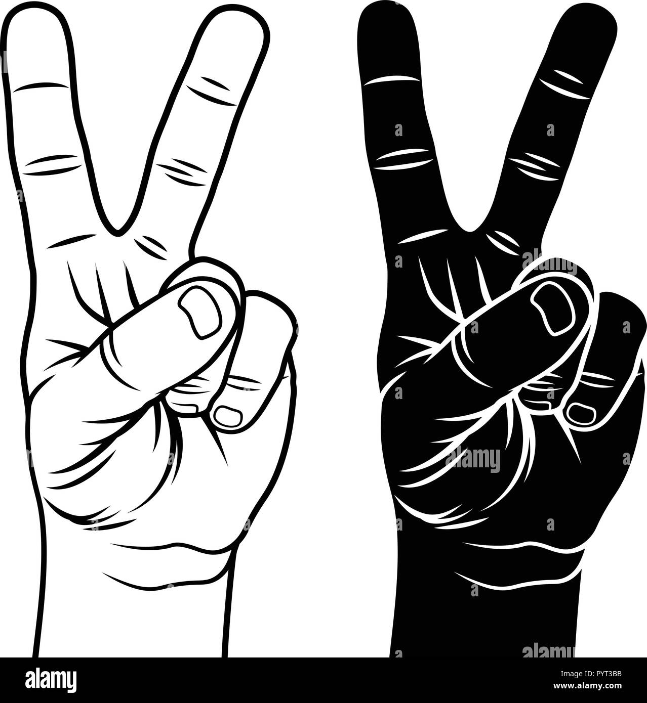 Victory and Peace Gesture Symbol  Hand with two fingers up