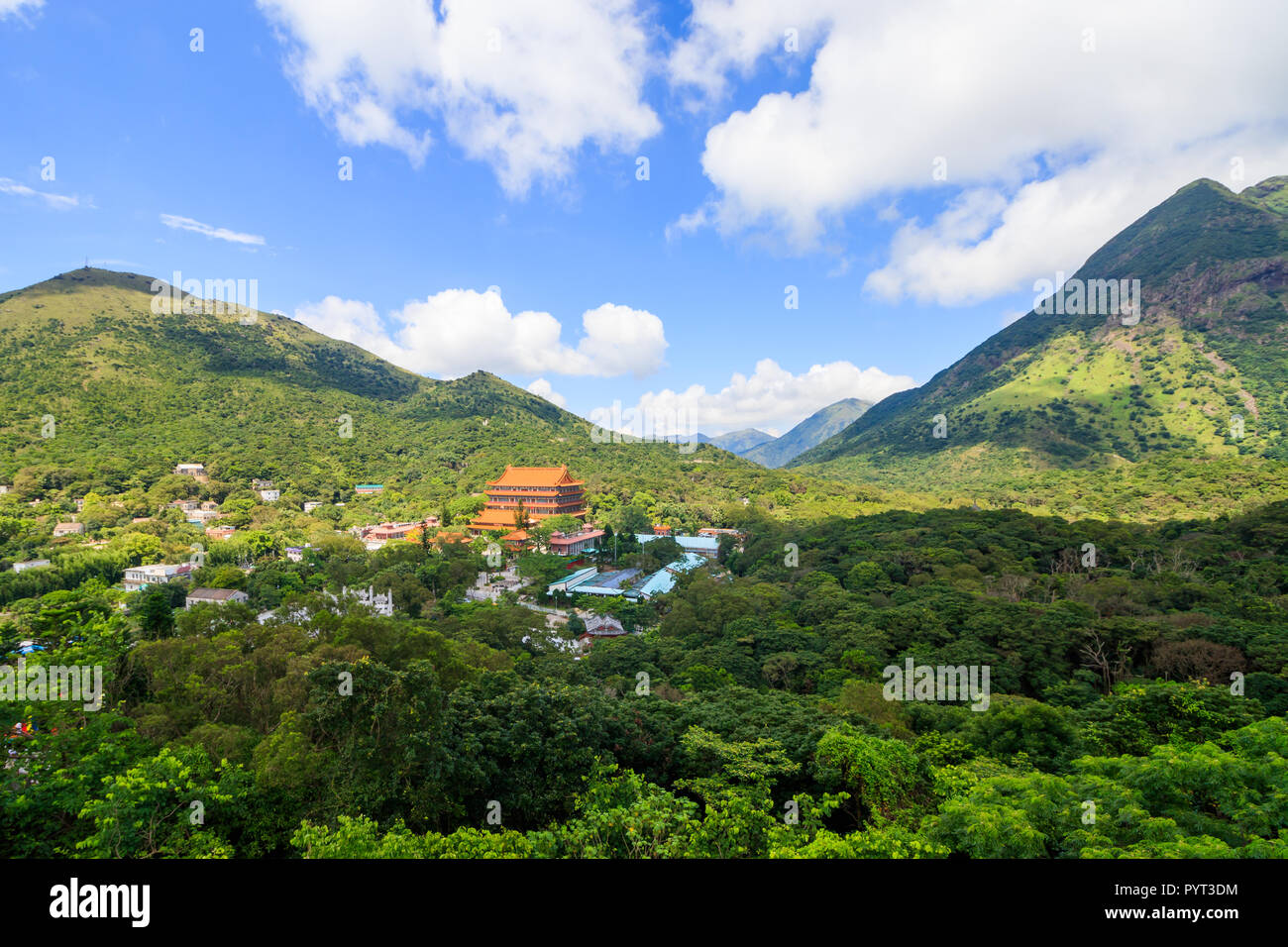 View of Po Lin Monastery and Mountains In Hong kong - Stock Image