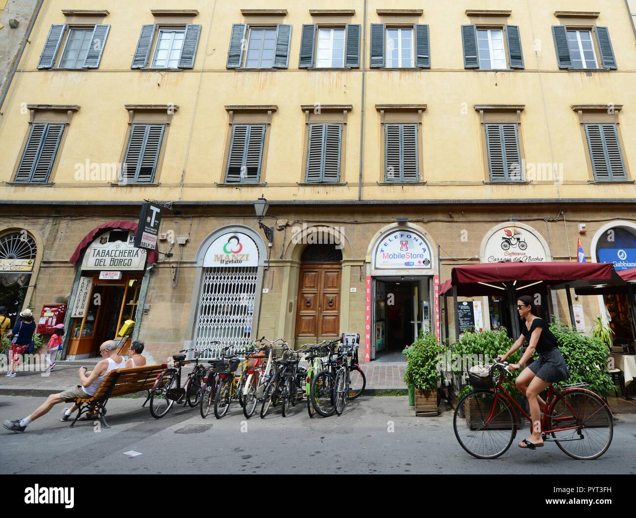 Old buildings along Via Guglielmo Oberdan in Pisa, Italy. Stock Photo