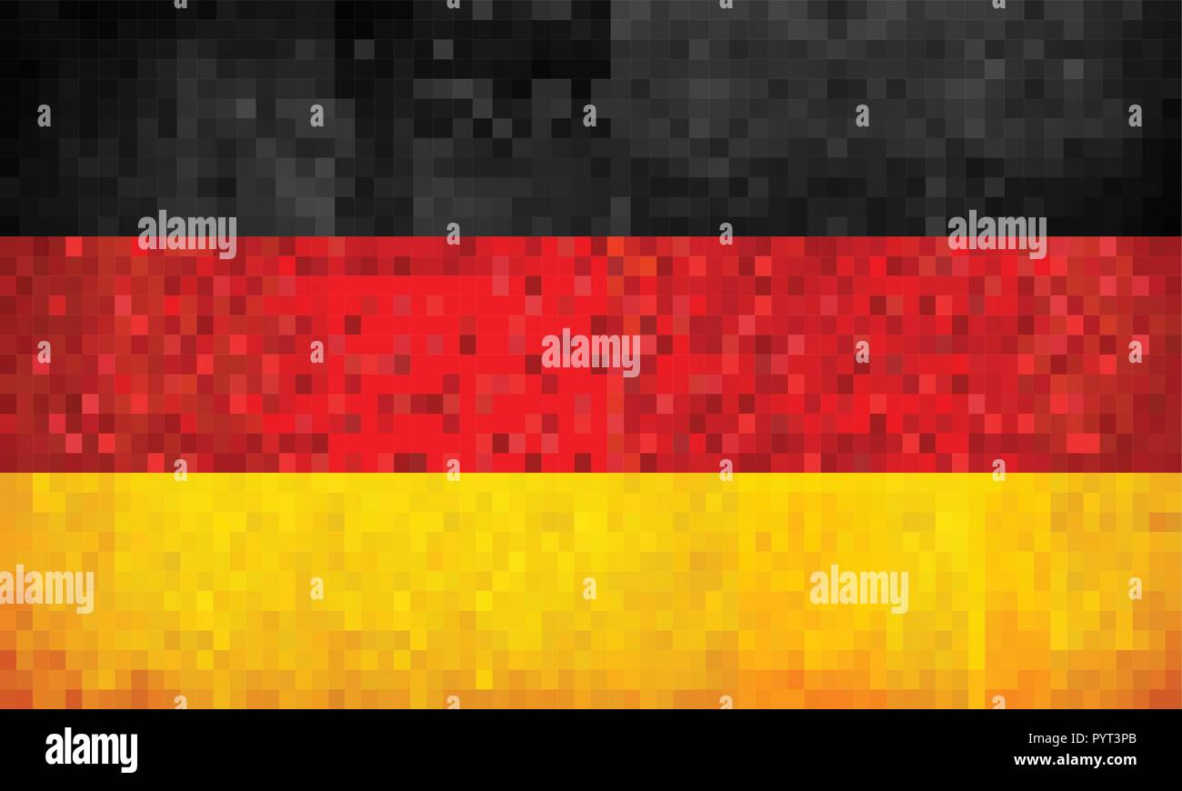 Grunge mosaic Flag of Germany - illustration,  Flag of Deutschland,  Abstract grunge mosaic vector - Stock Vector