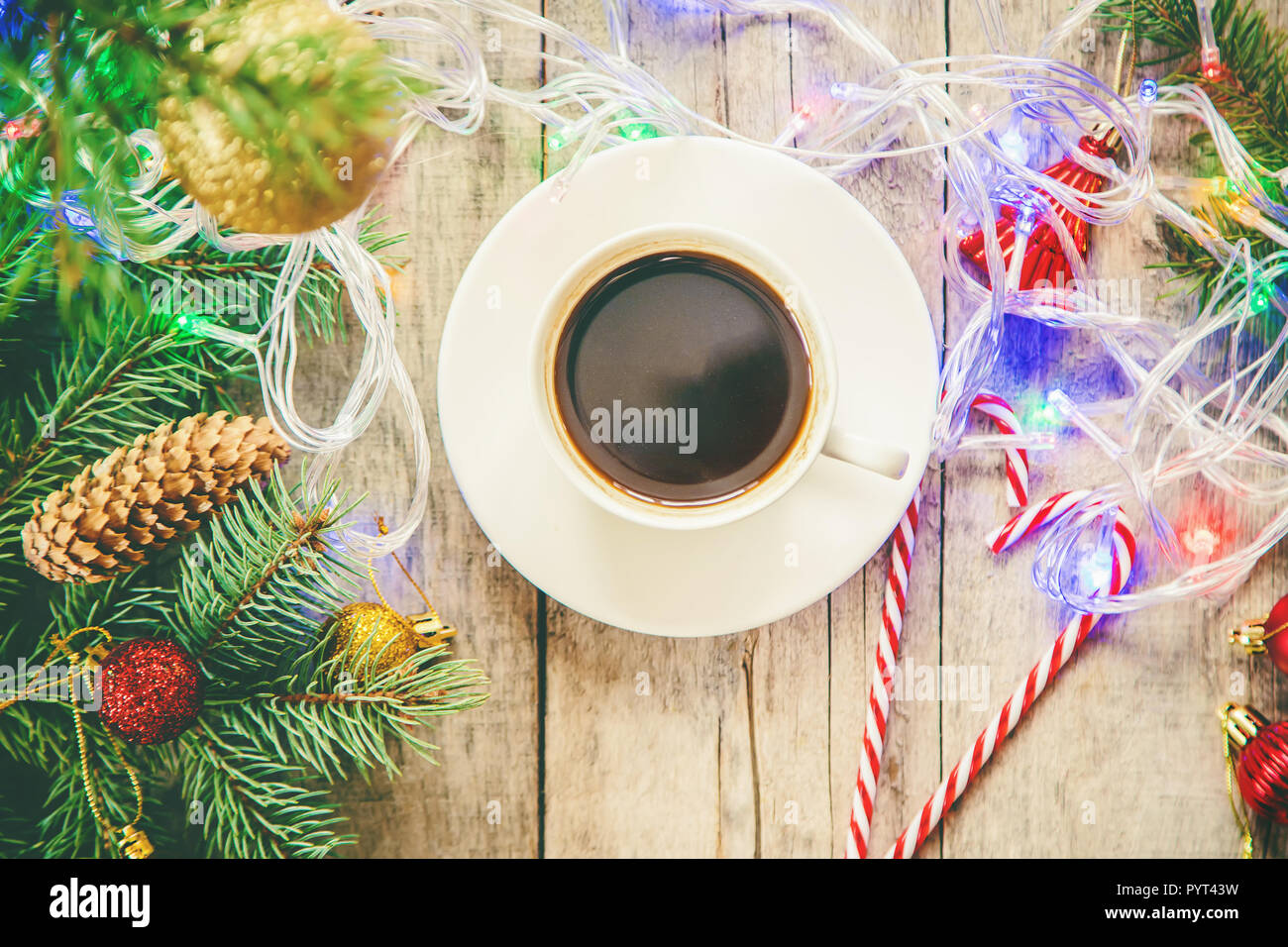 Coffee Christmas Morning.Cup Of Coffee On A Christmas Background Christmas Morning