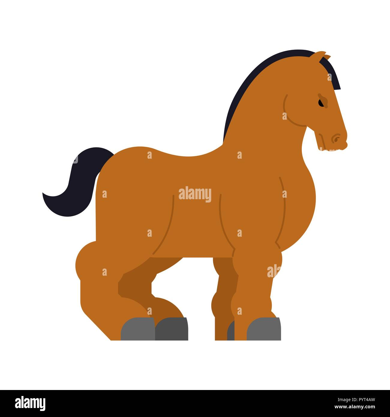 Clydesdale Strong heavy horse. Draft Shire Horse. Power big steed. Cartoon animal vector - Stock Vector