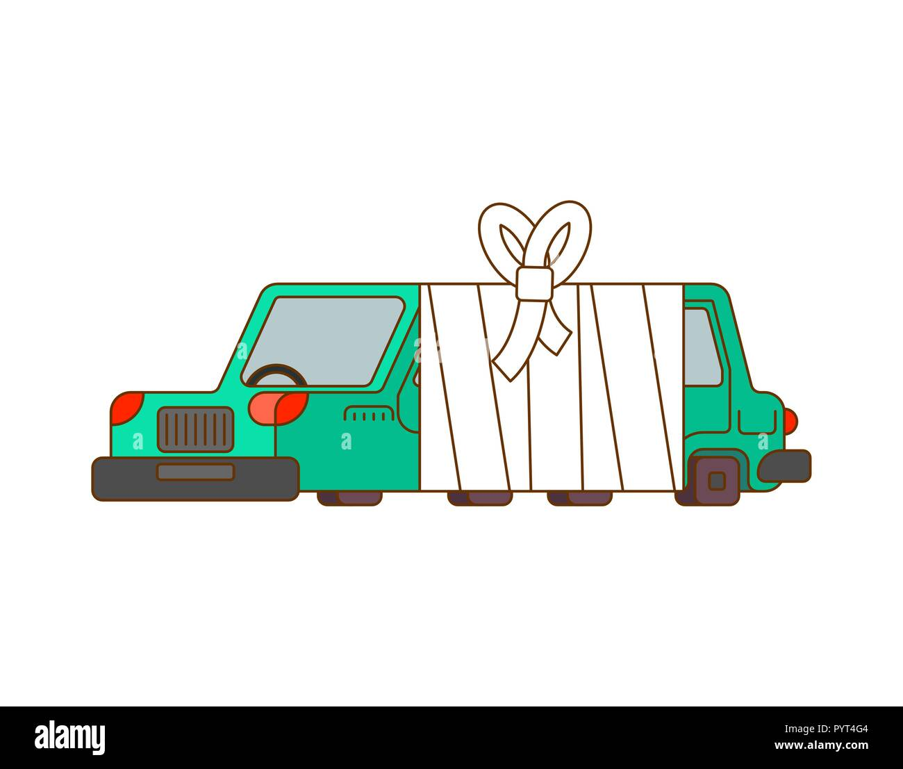 Car with bandages. Sick automobile in bandage. Auto help service Stock Vector
