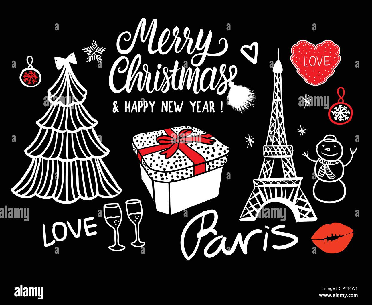 merry christmas and happy new year card fashion sketch celebration gift box tree and fireworks hand drawn vector illustration isolated on black background