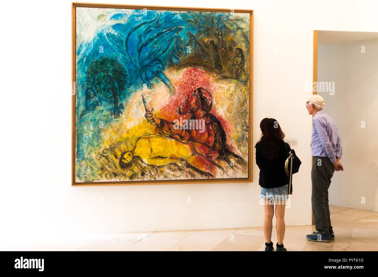 Abraham about to sacrifice Isaac - picture by Marc Chagall which hangs in the National museum of Marc Chagall in Nice, France - Stock Image