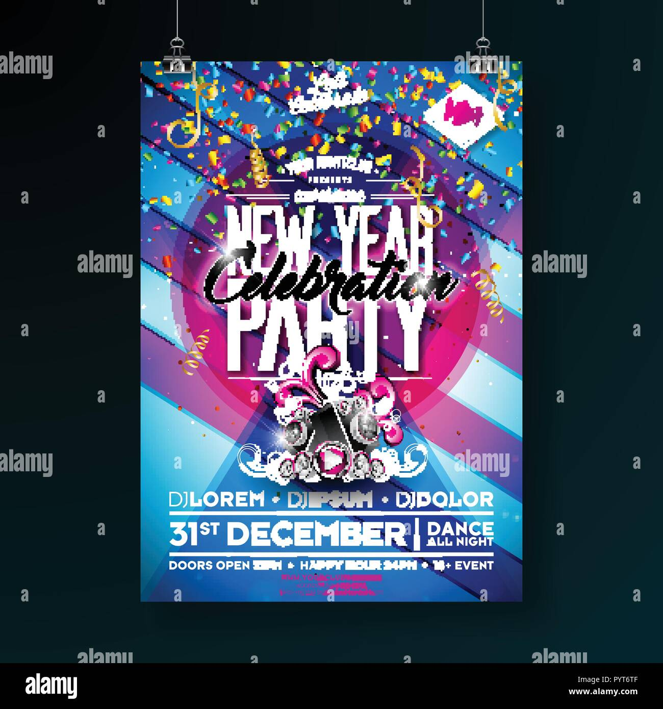 New Year Party Celebration Poster Template Illustration With