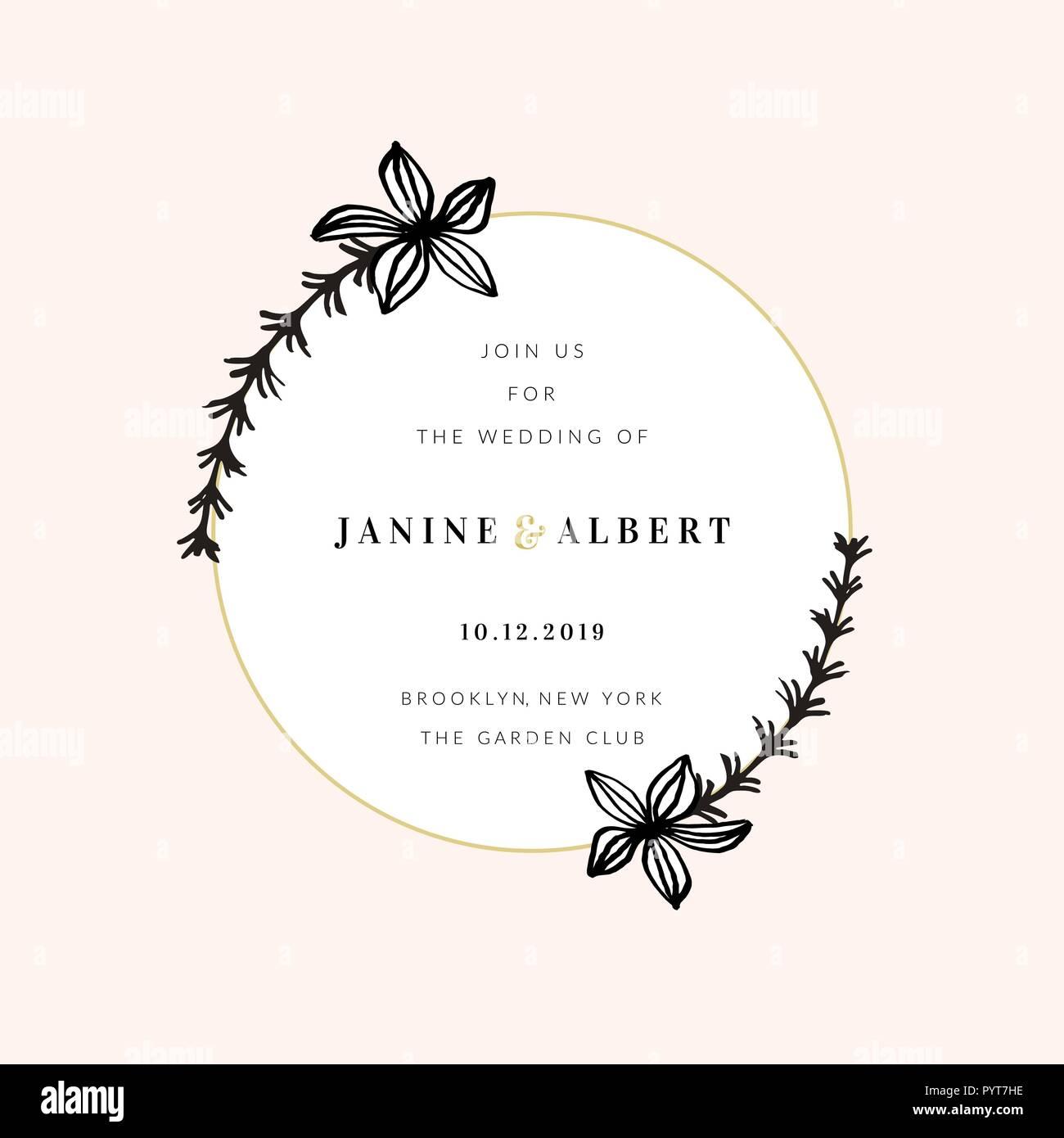Wedding Invitation Design Template With Golden Round Frame Floral