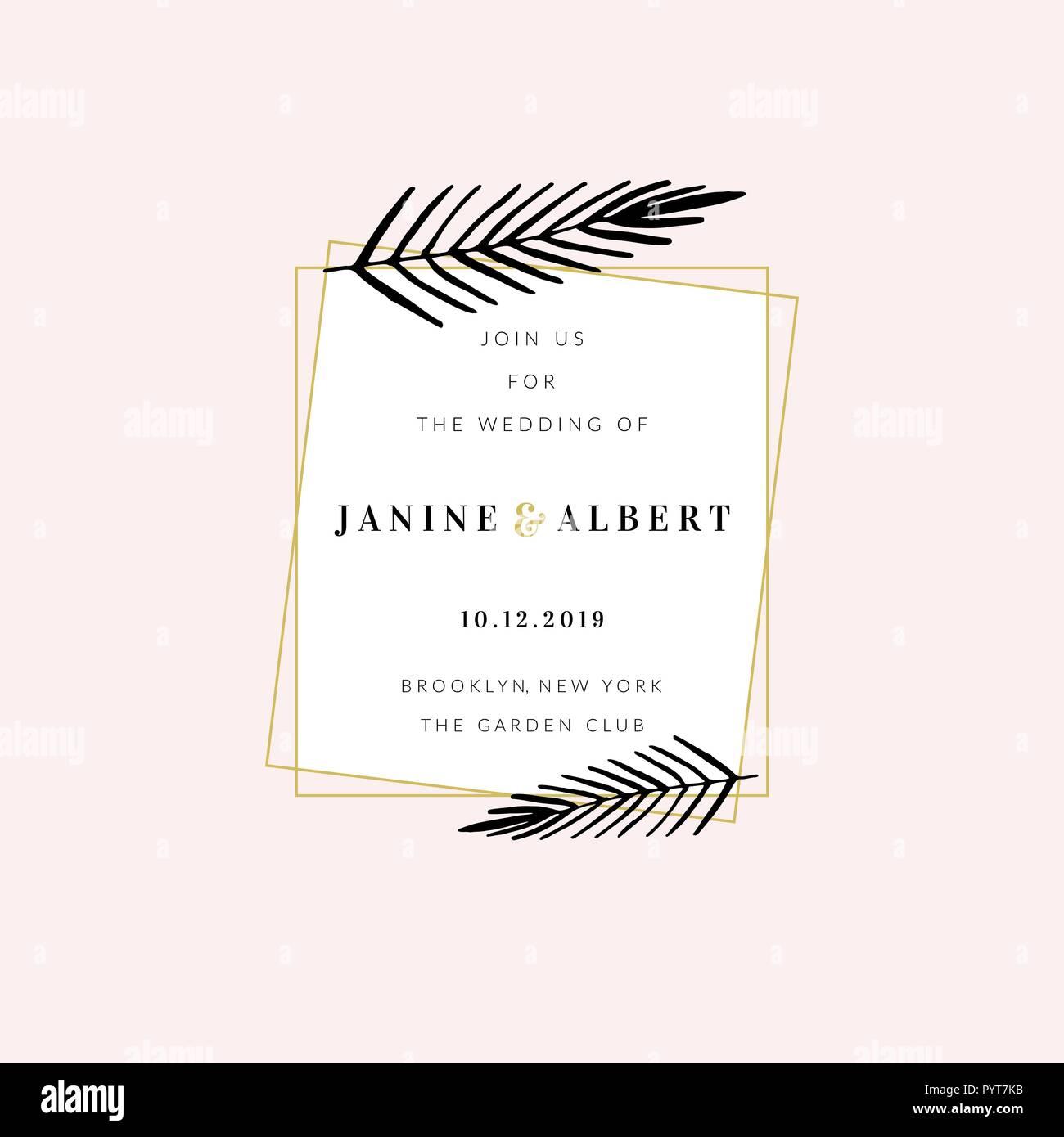 Wedding Invitation Design Template With Golden Geometric Frame