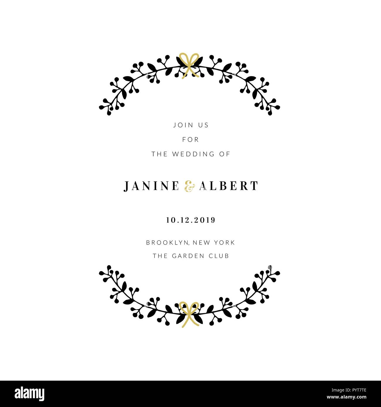 Wedding Invitation Design Template With Floral Decoration Sample