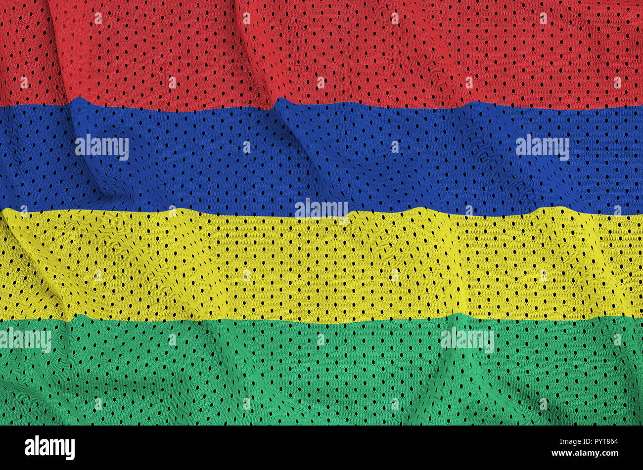 Mauritius flag printed on a polyester nylon sportswear mesh fabric with some folds - Stock Image