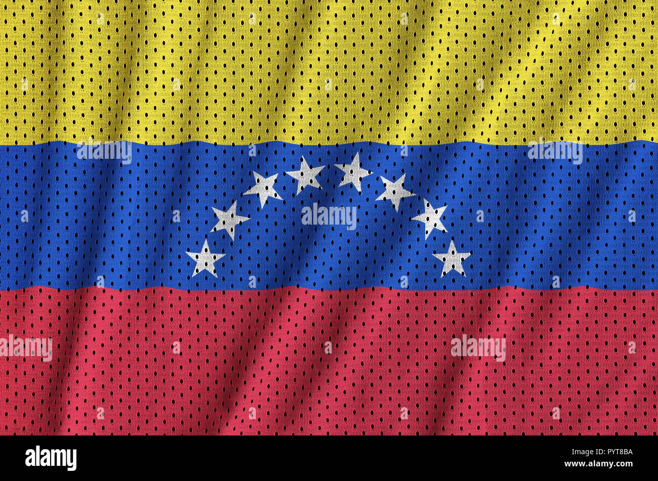 Venezuela flag printed on a polyester nylon sportswear mesh fabric with some folds - Stock Image