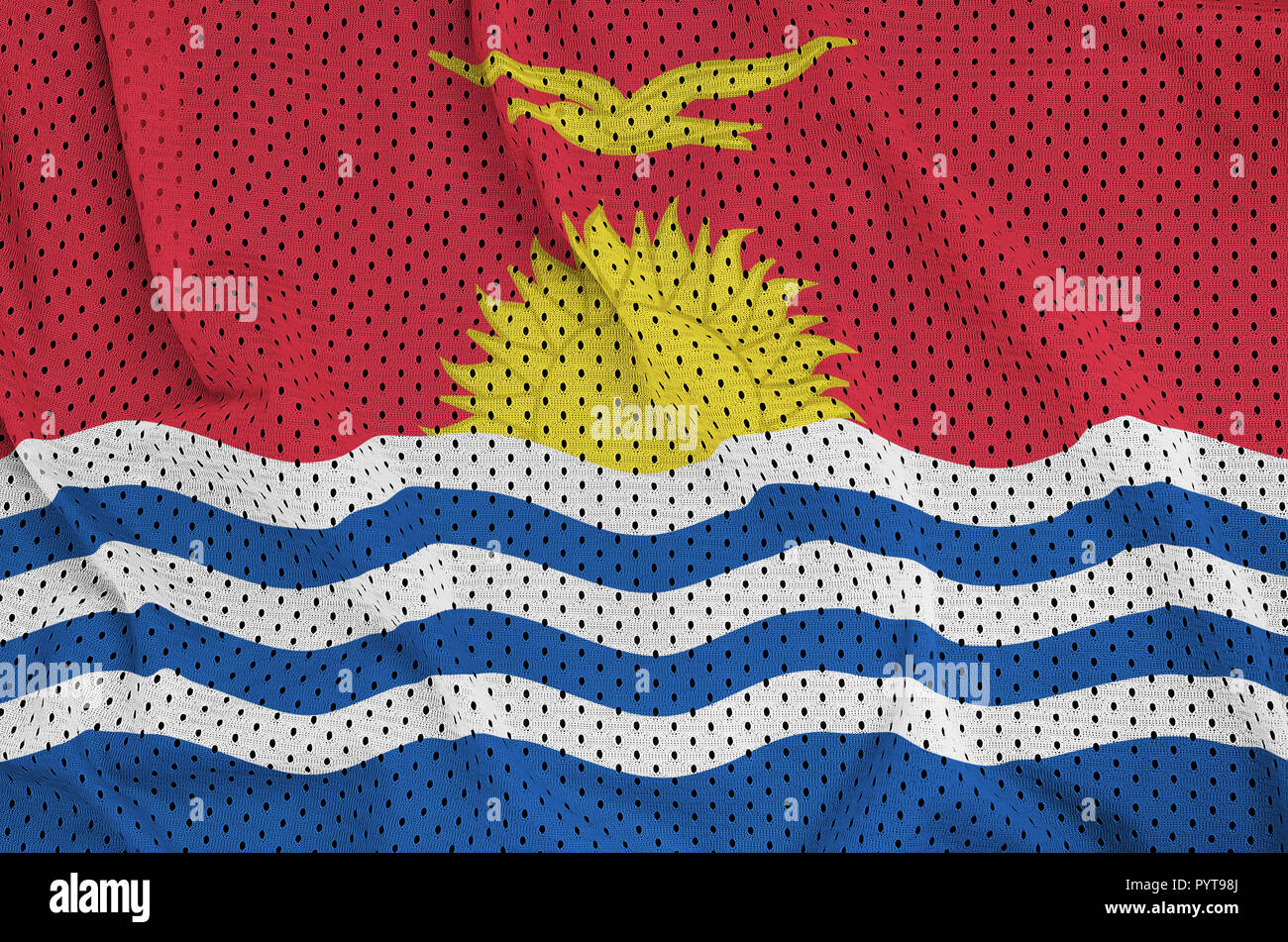 Kiribati flag printed on a polyester nylon sportswear mesh fabric with some folds - Stock Image