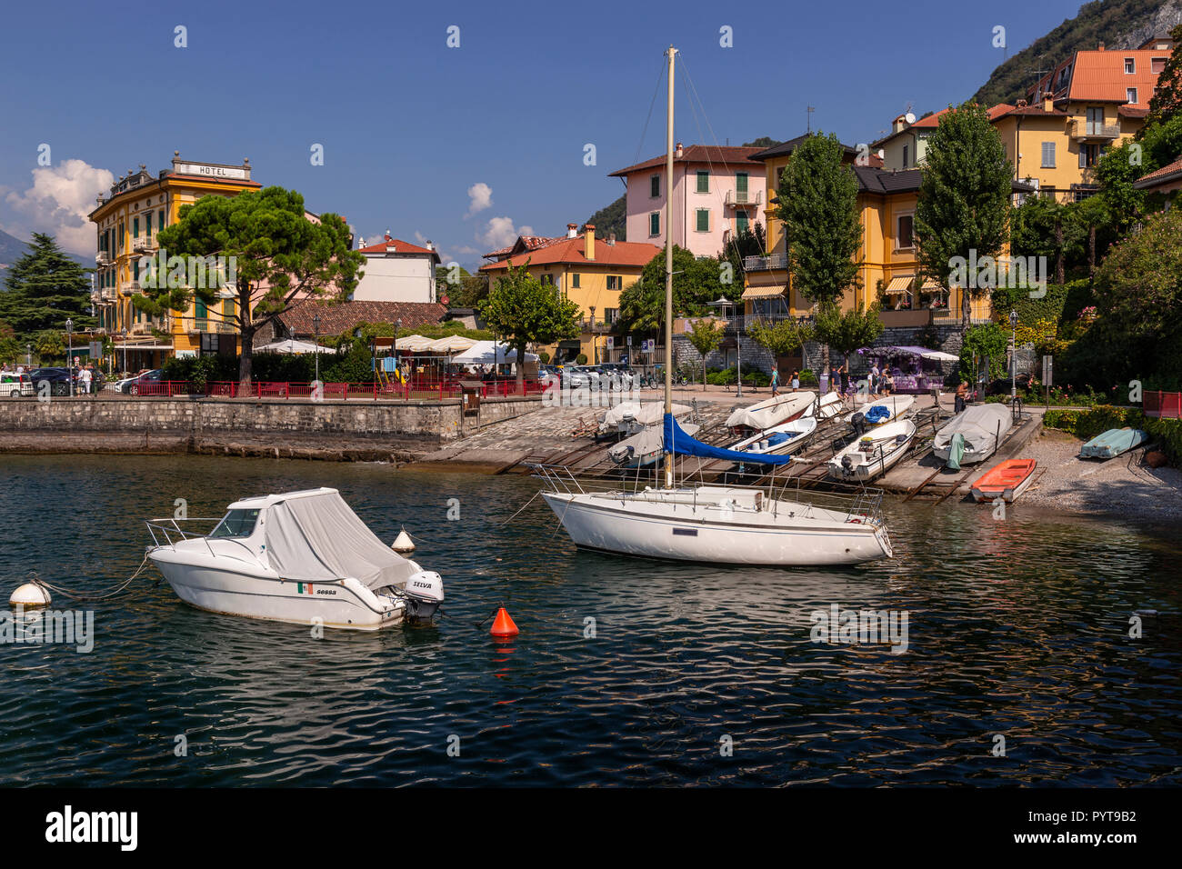 Boats moored at Varenna on Lake Como in northern Italy Stock Photo