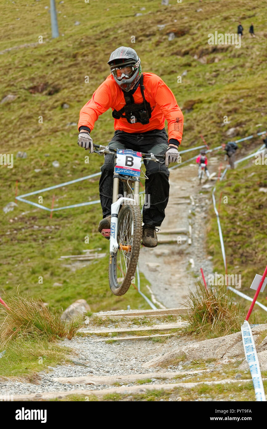 Fort William, Scotland, United Kingdom - 2011/06/05: UCI World Cup MTB Downhill near Fort William Stock Photo