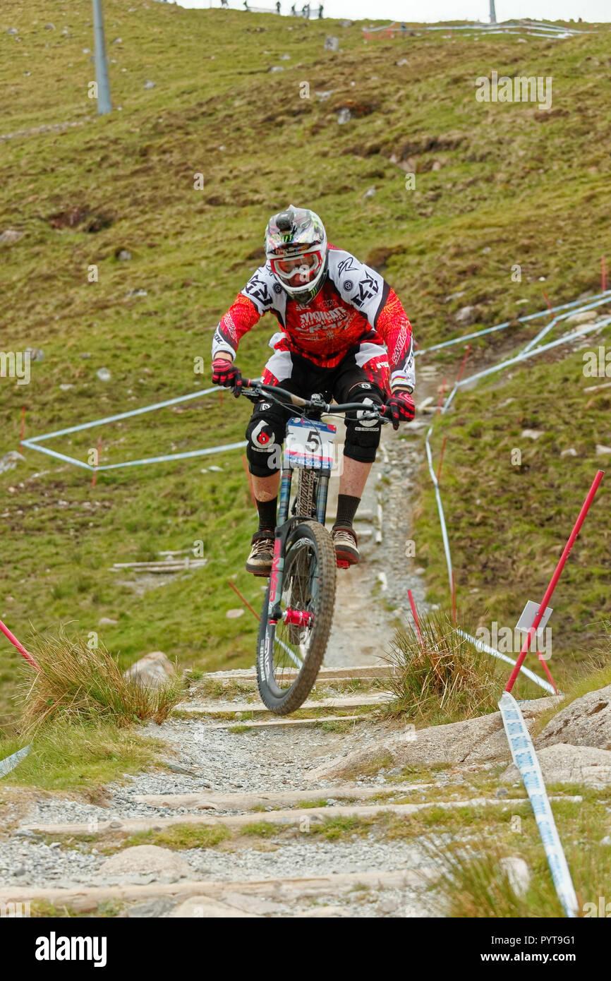 Fort William, Scotland, United Kingdom - 2011/06/05: UCI World Cup MTB Downhill near Fort William - Stock Image
