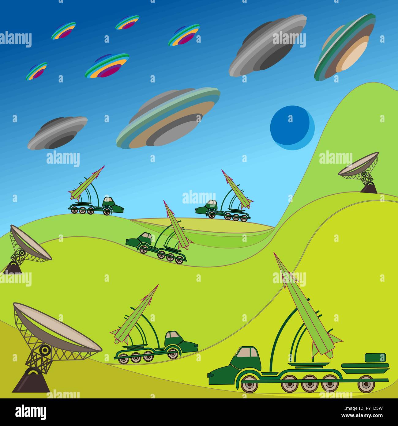 Flying plates of aliens are attacking the Earth. Military rocket unit keeps the defense. Hand drawing vector illustration - Stock Image
