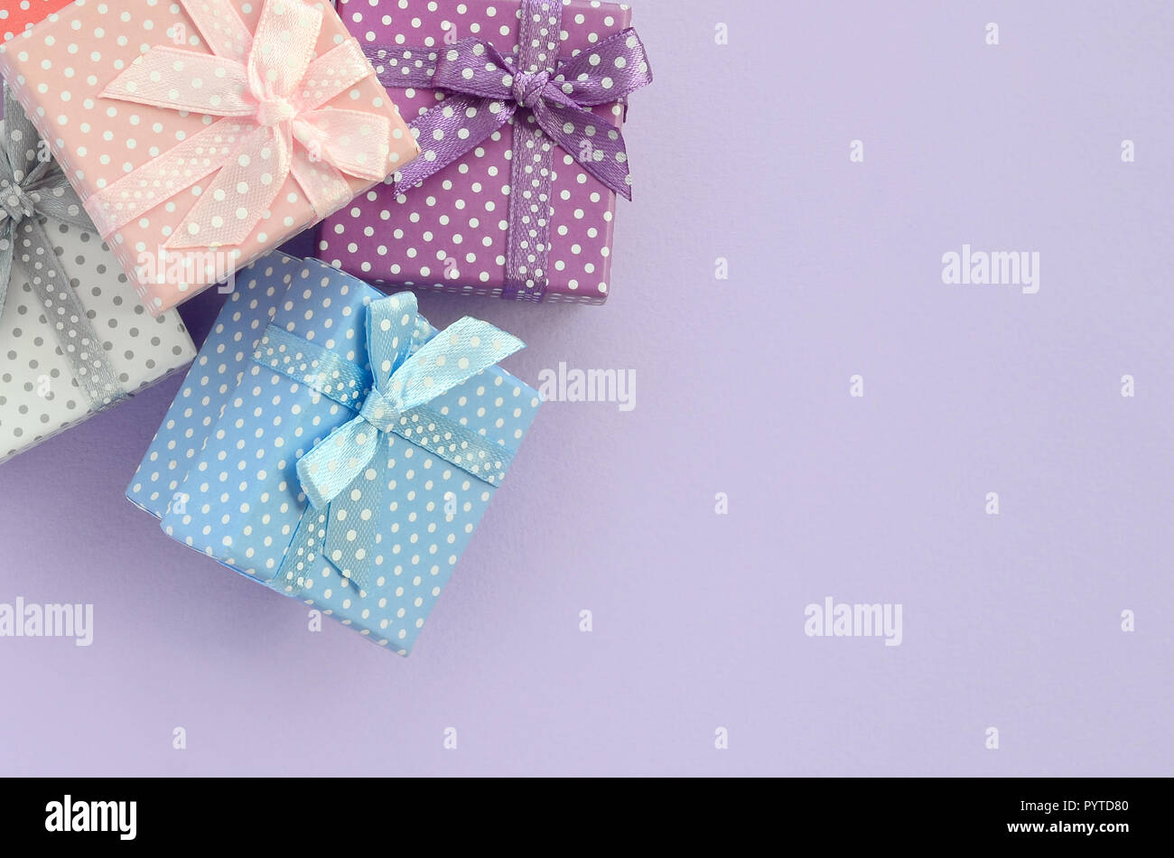 Many Colored Presents On White Stock Photos & Many Colored