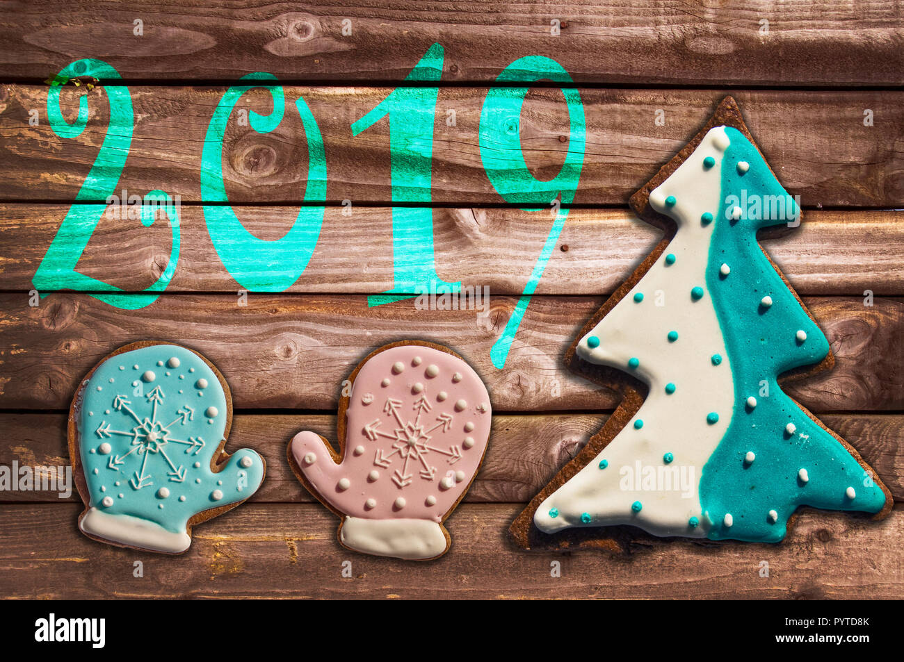 2019 Christmas Cookies 2019 christmas gingerbread cookies on wood greeting card Stock