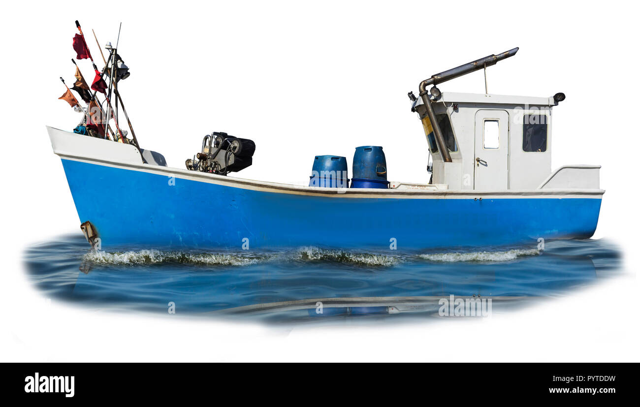 Baltic Sea. The fishing boat with the blue plastic case and the white cabin. Isolated photo. Site about fishermen, shipbuilding, romance, industry. - Stock Image