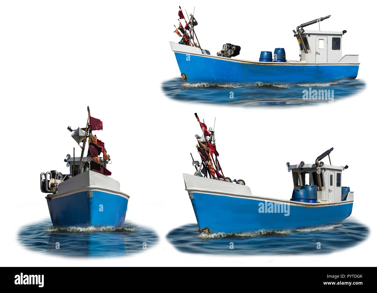 Baltic Sea.The boat with the blue plastic case and the white cabin. Three wiews. Isolated photo. Site about fishermen, shipbuilding,industry, romance. - Stock Image