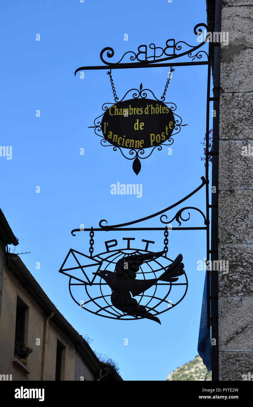 Old post office hotel sign, Villefranche-de-Conflent, Pyrenees-Orientales, Occitanie, France - Stock Image