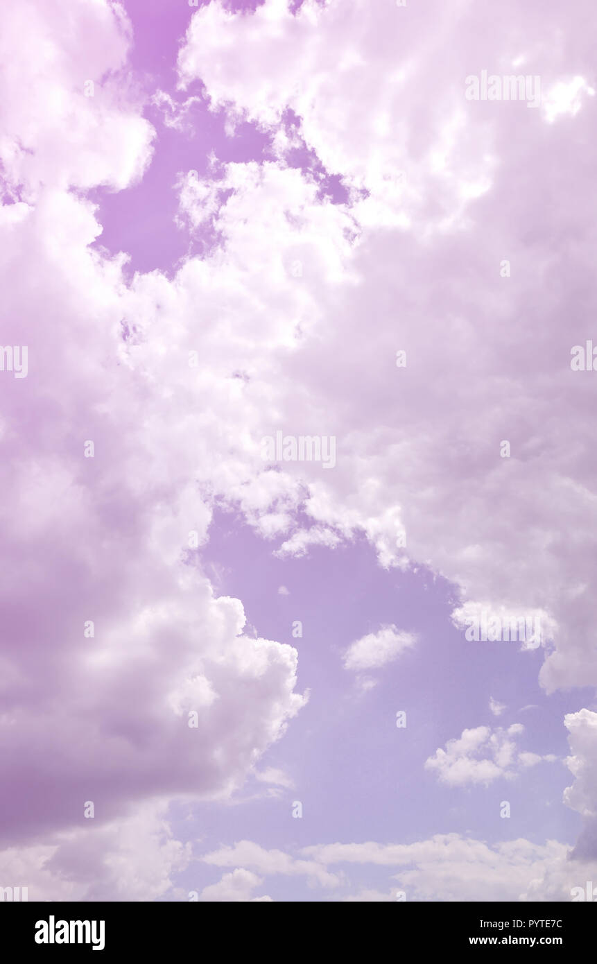 Image of clear blue sky and white clouds on day time for background usage - Stock Image