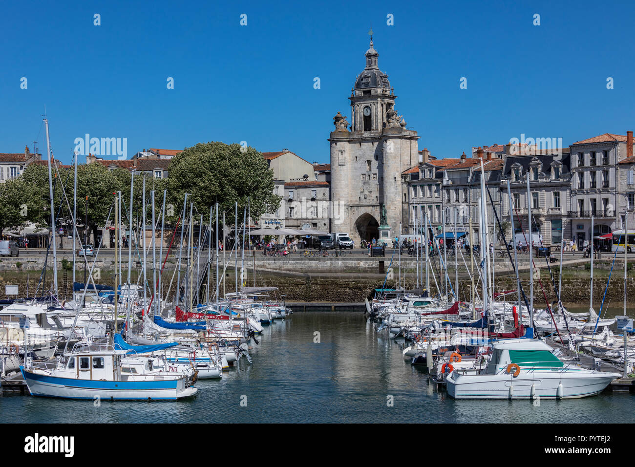 Grosse Horloge Gate in the Vieux Port of La Rochelle in the Charente-Maritime region of France. Stock Photo