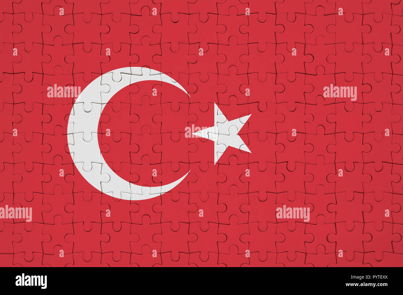 Turkey flag  is depicted on a folded puzzle Stock Photo