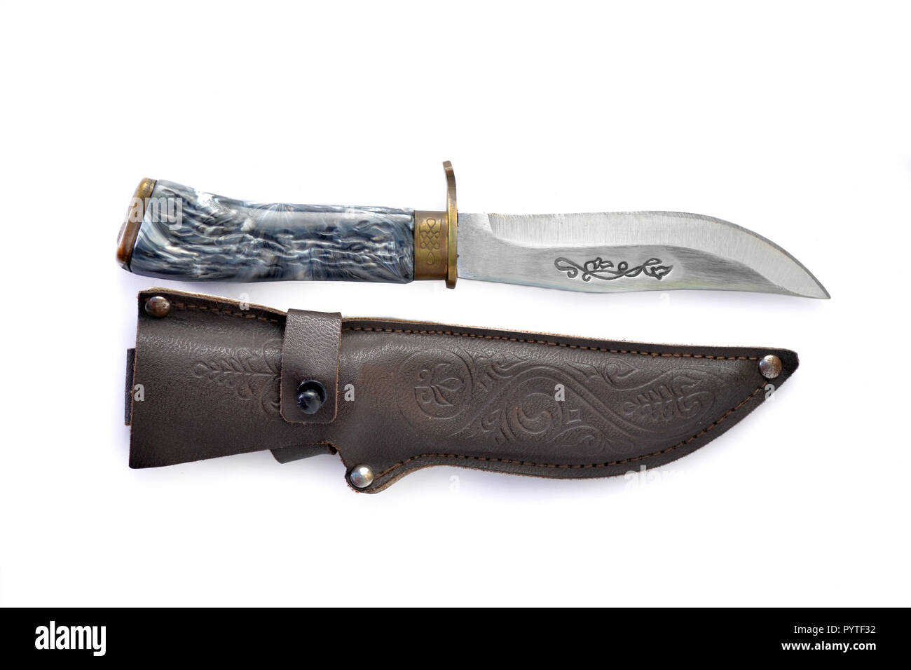 Knife with grey handle for hunting and survival and brown leather sheath on white isolated background. - Stock Image