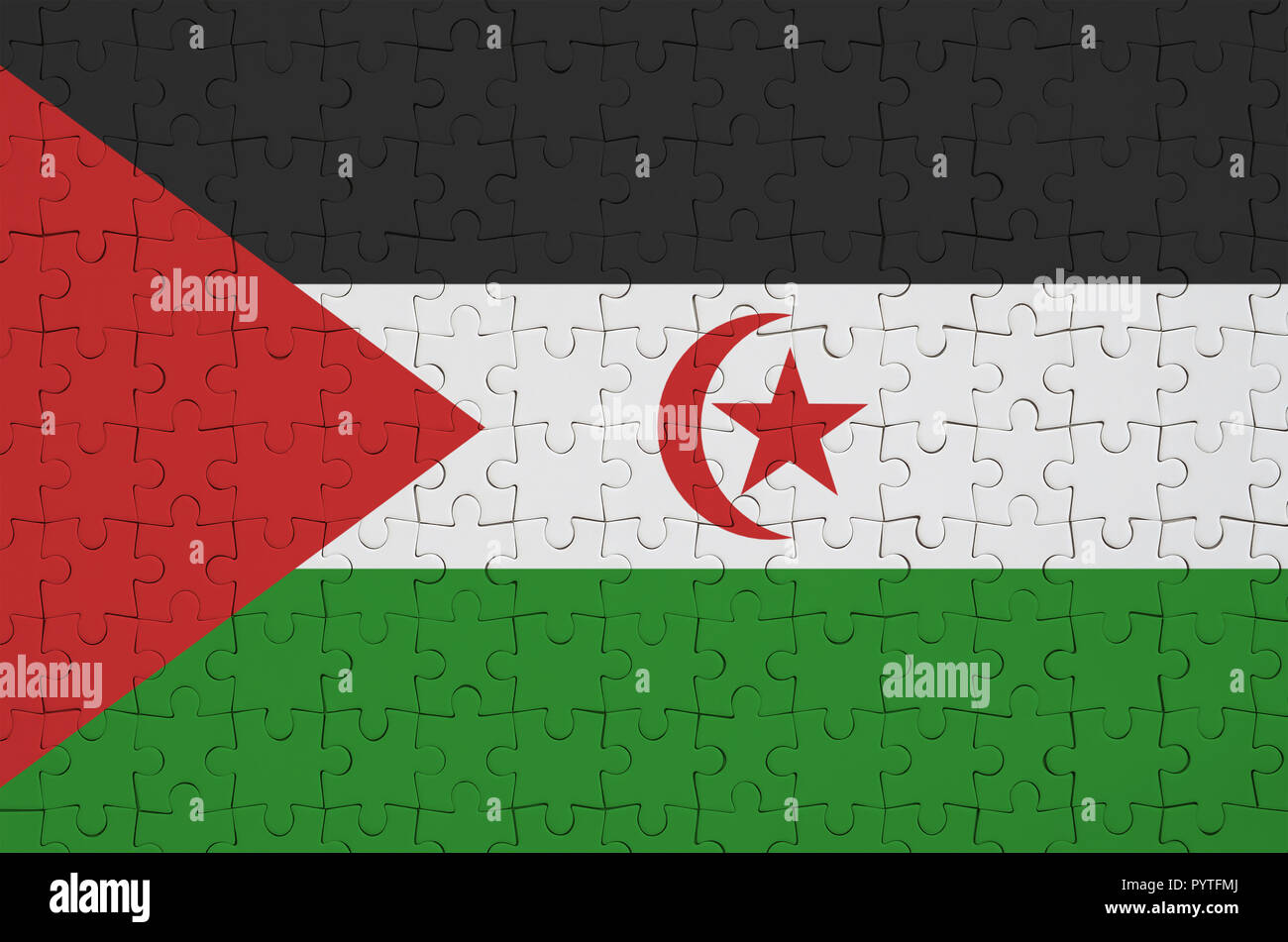 Western Sahara flag  is depicted on a folded puzzle - Stock Image