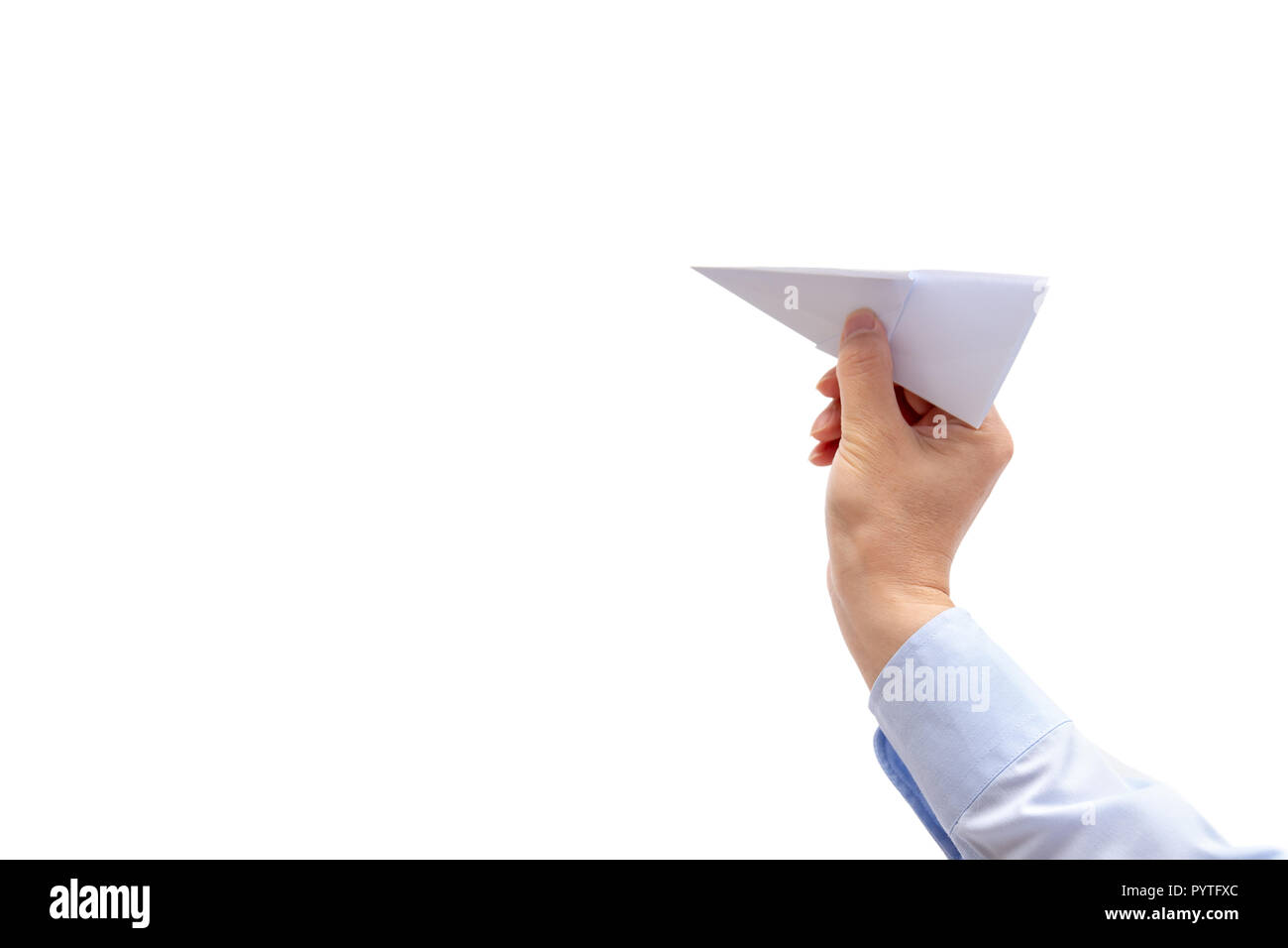 Businessman hand holding paper plane on white background . - Stock Image