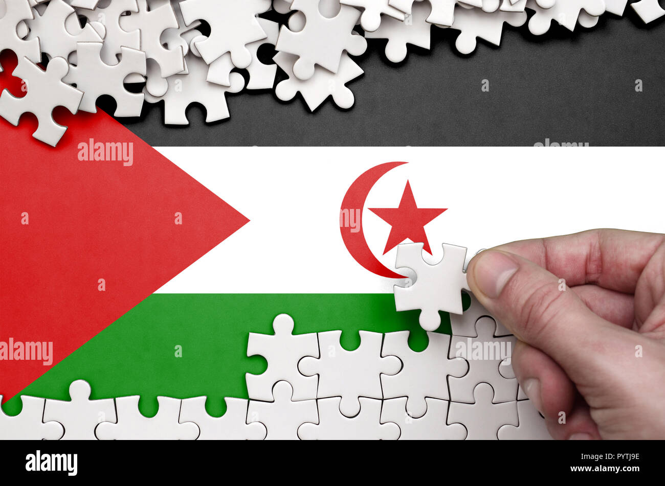 Western Sahara flag  is depicted on a table on which the human hand folds a puzzle of white color. - Stock Image
