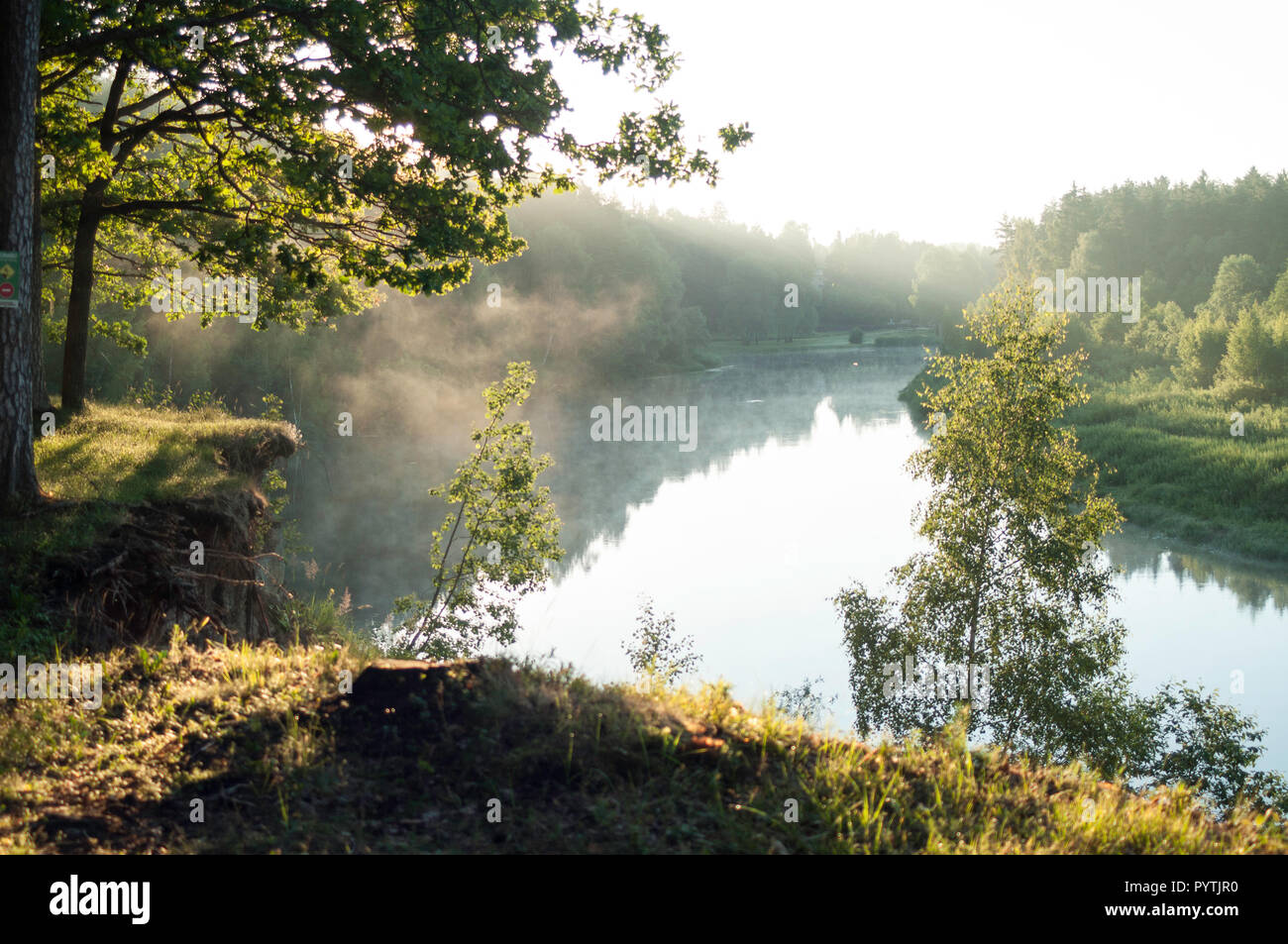 Beautiful sunny morning. White fog lays over the river. - Stock Image