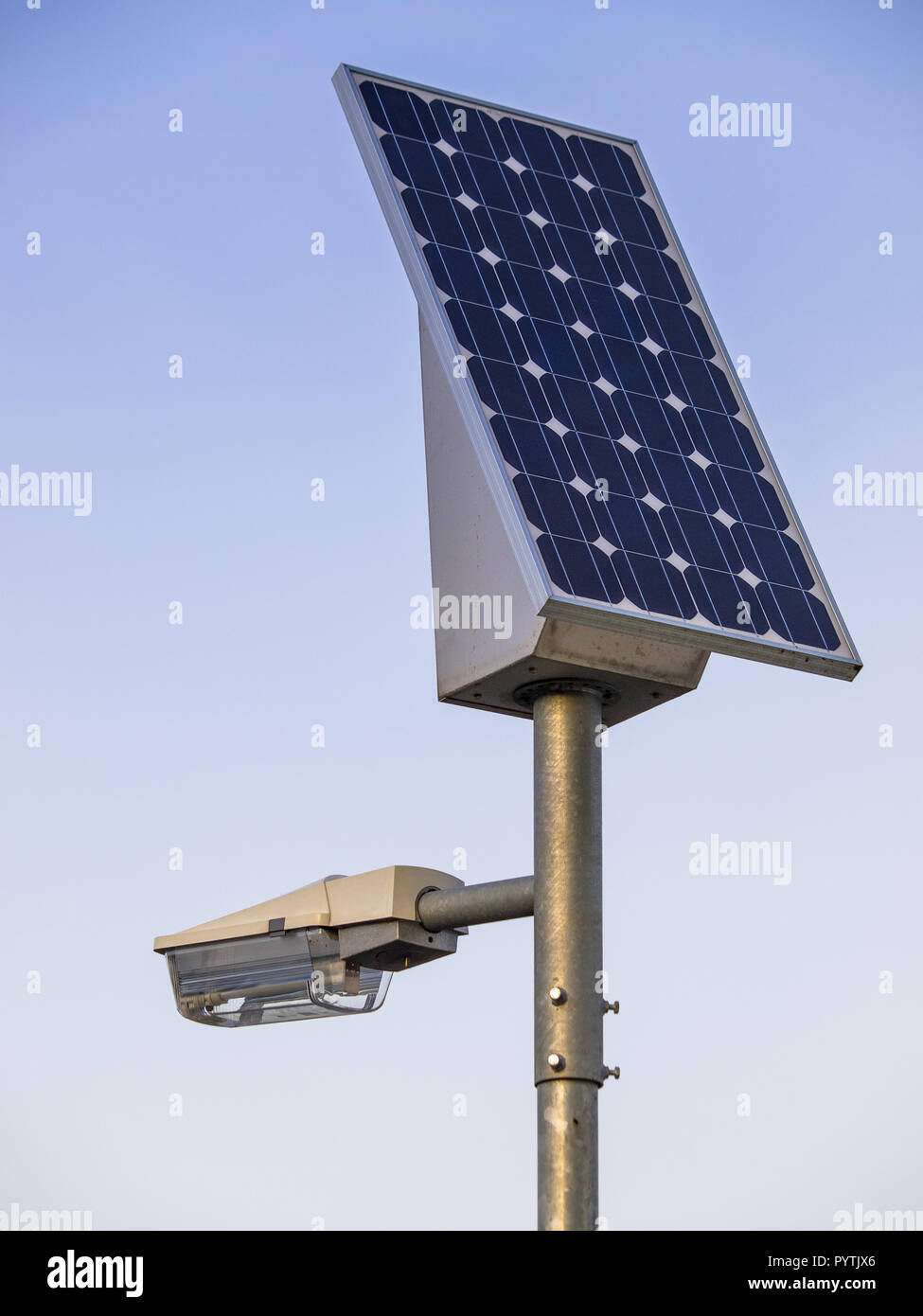 solar powered street lantarn under blue sky Stock Photo