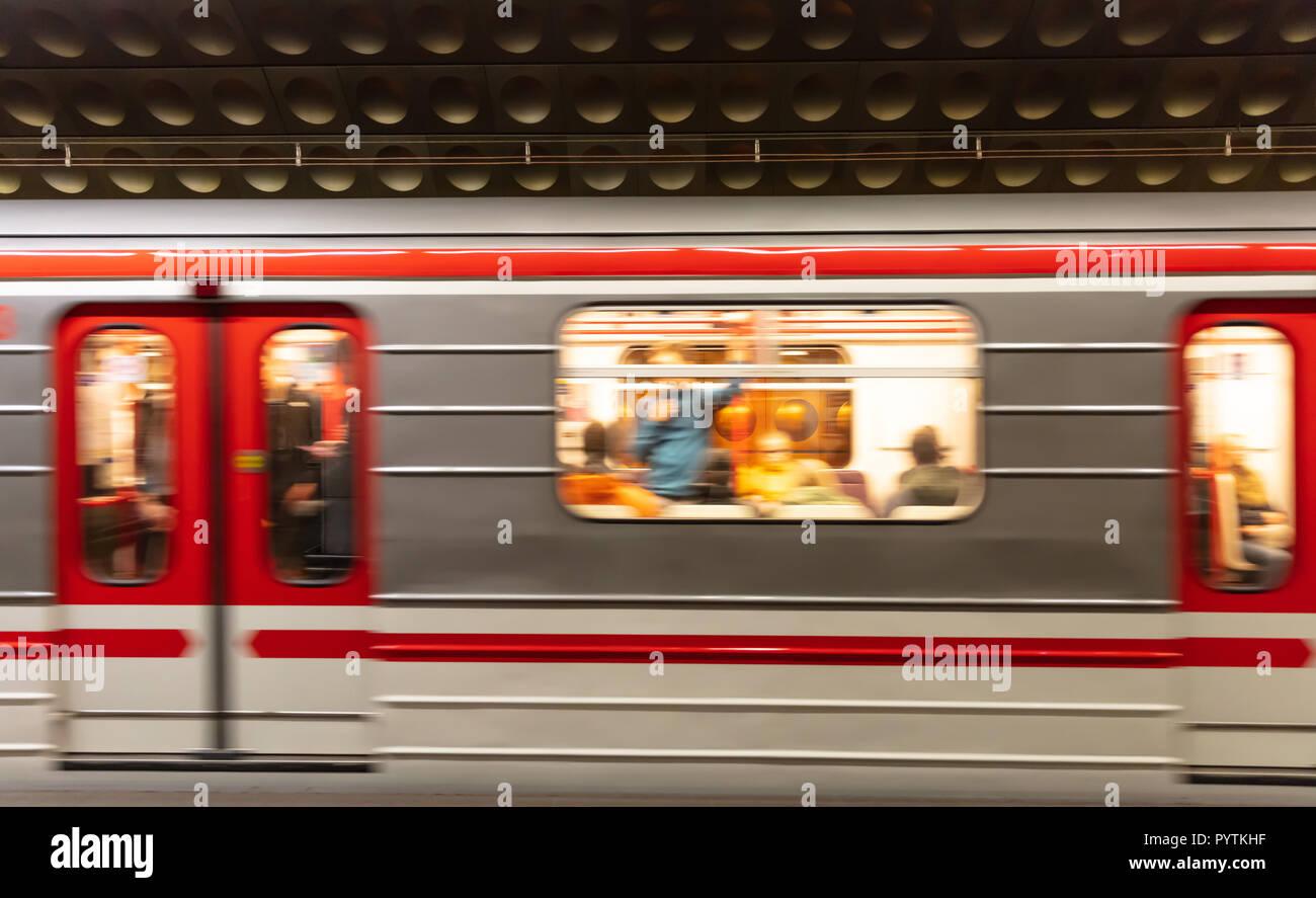 Prague, Staromestska metro station. Blur train carriage in motion Stock Photo