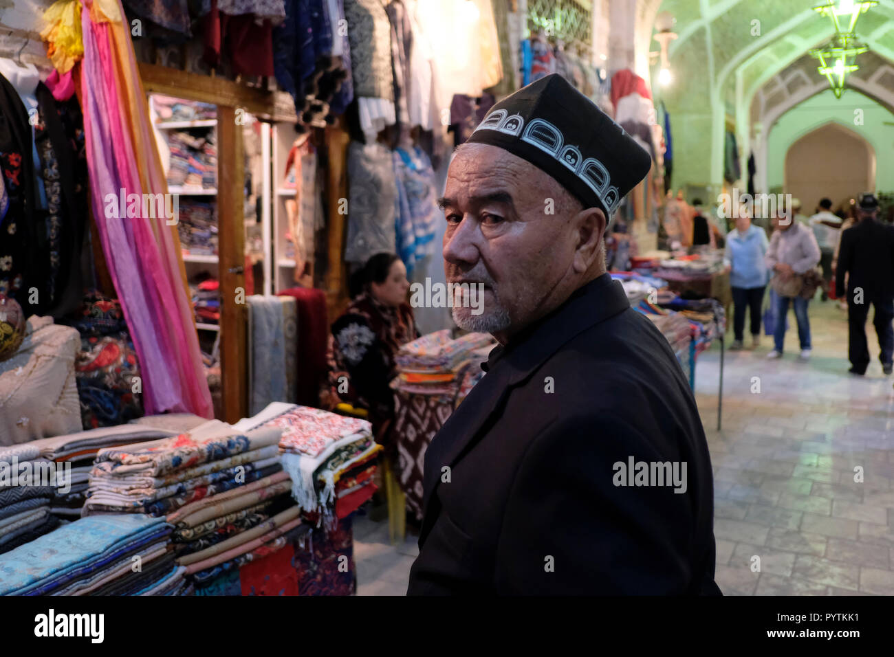 Uzbek man wearing traditional Uzbek doppa or duppi cap in Toqi Telpak  Furushon Bazaar in the dc88c79863cf