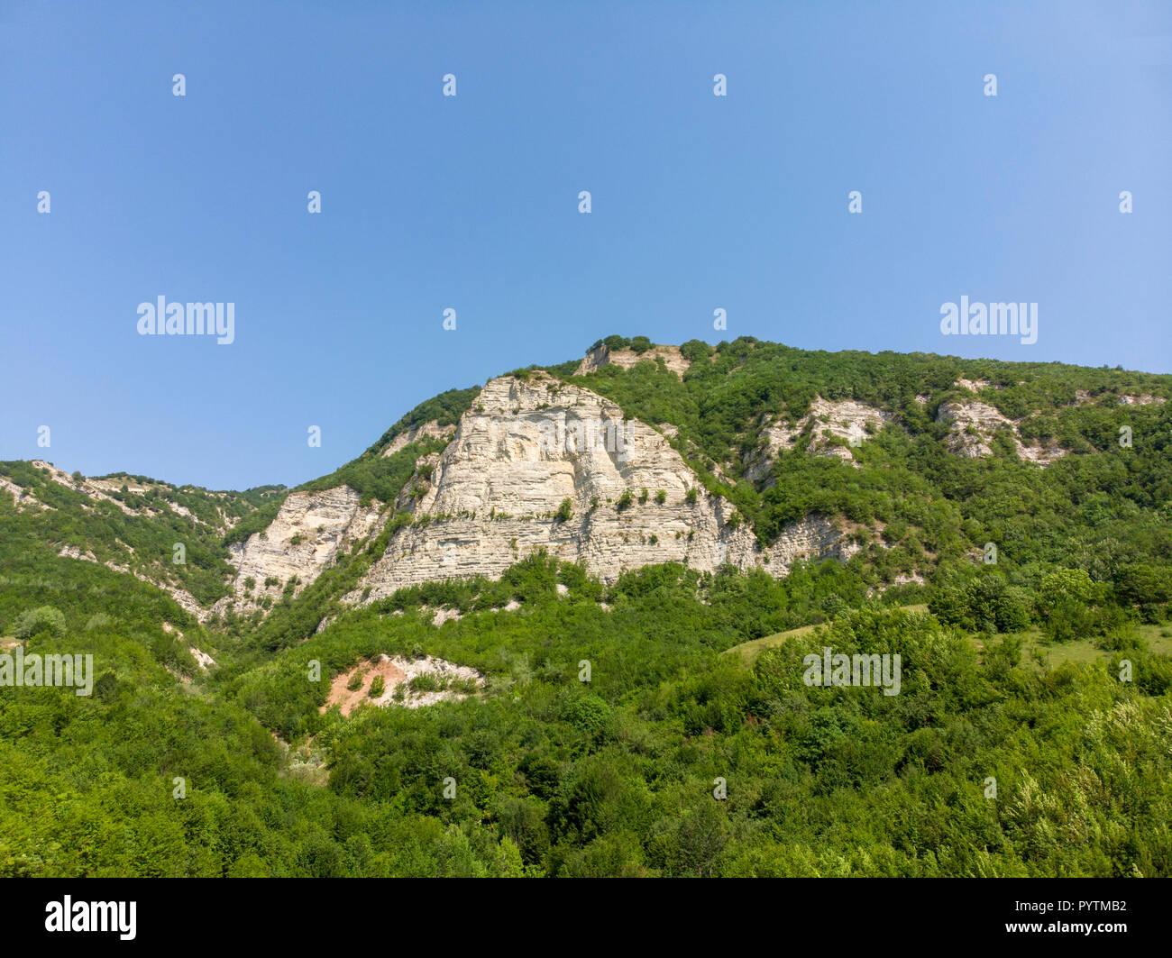 Afurja Waterfall. Afurdzhi Falls Is Located in Quba Azerbaijan. Areal Dron Shoot. - Stock Image