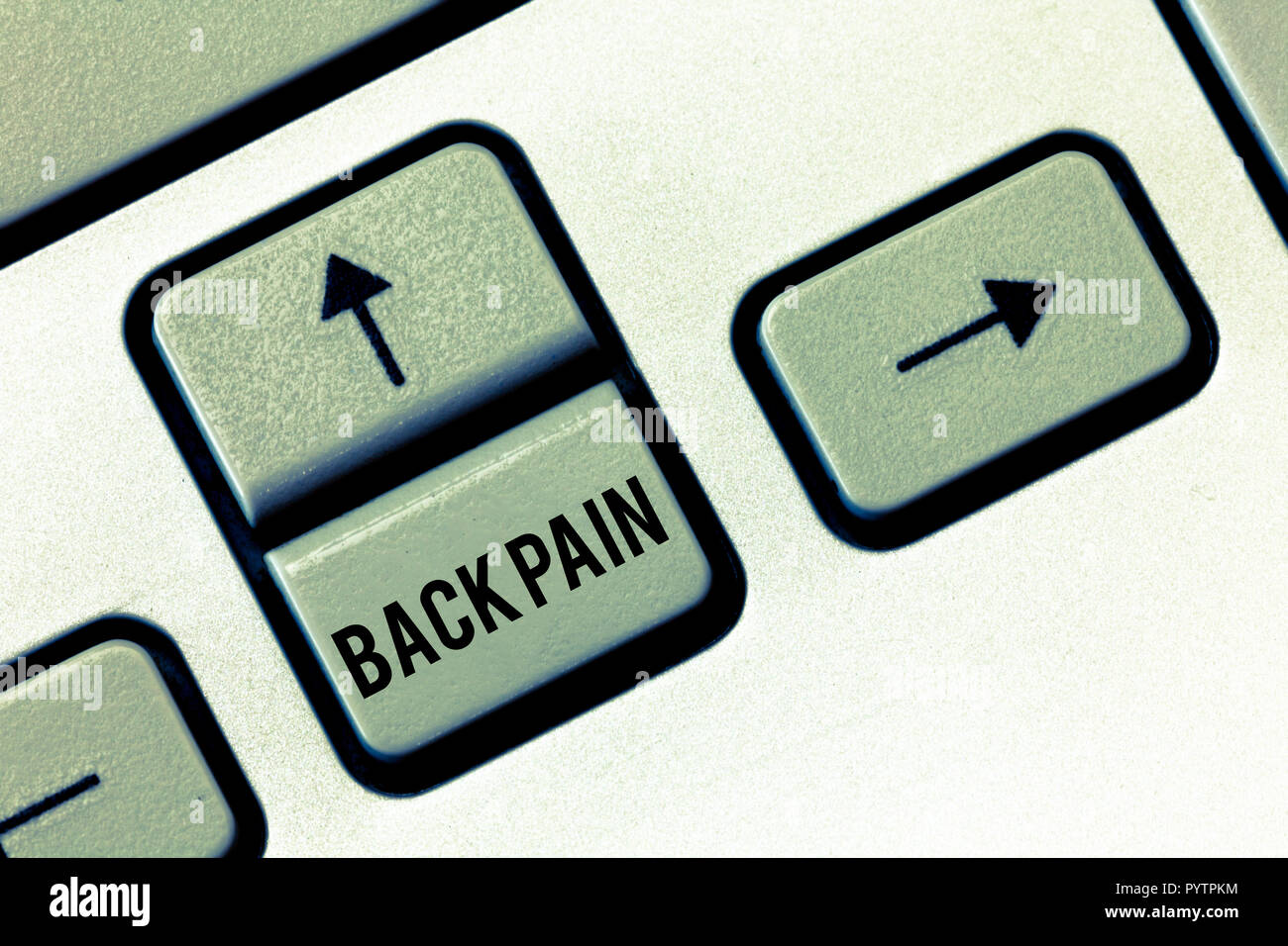 Handwriting text Back Pain. Concept meaning Soreness of the bones felt at the lower back portion of the body. - Stock Image