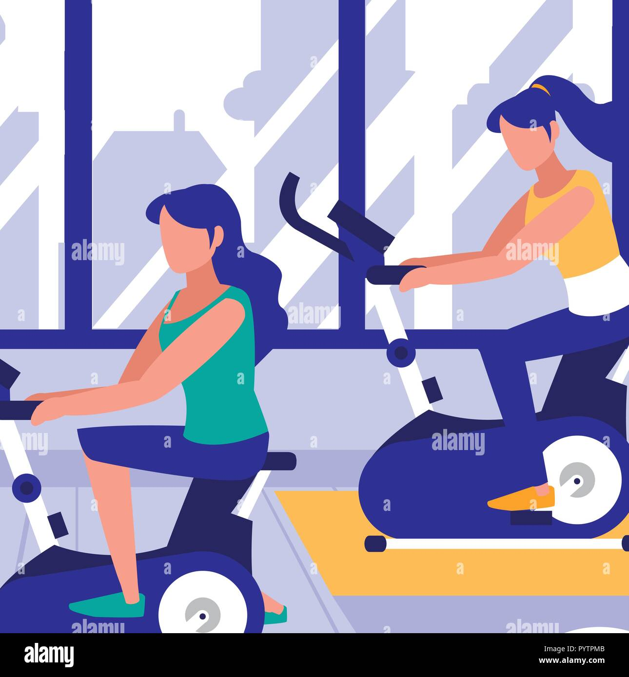 women on exercise bikes in the gym, colorful design. vector illustration Stock Vector