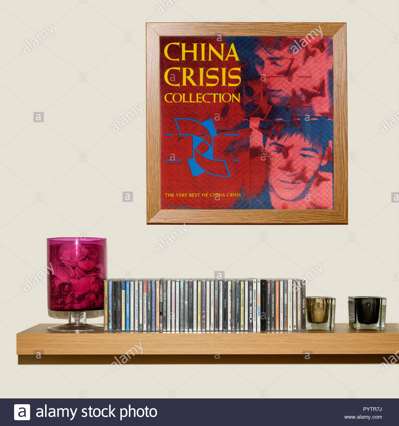 CD Collection and framed China Crisis collection album, England - Stock Image