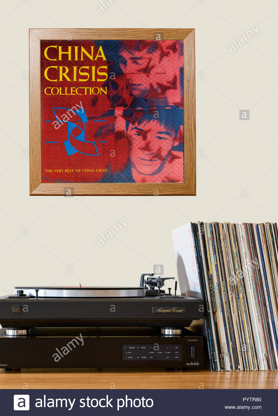 Record player and framed album cover China Crisis collection album, England - Stock Image