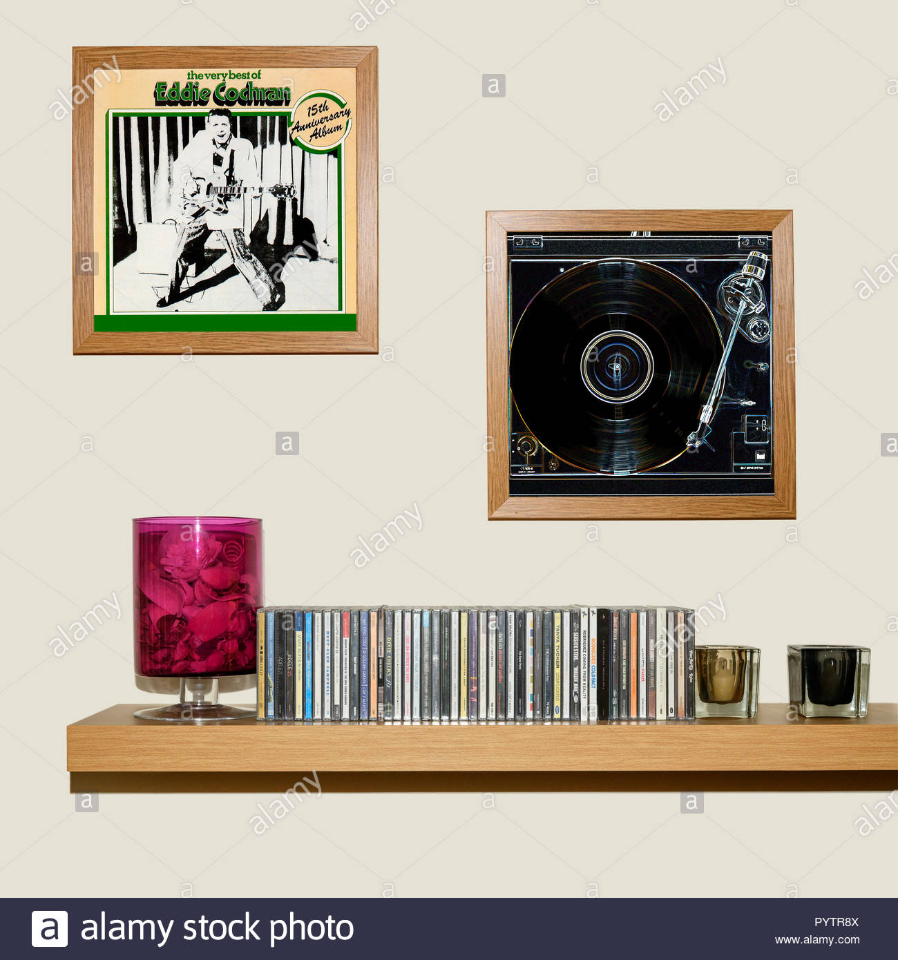 CD Collection and framed Eddie Cochran best of album, England - Stock Image