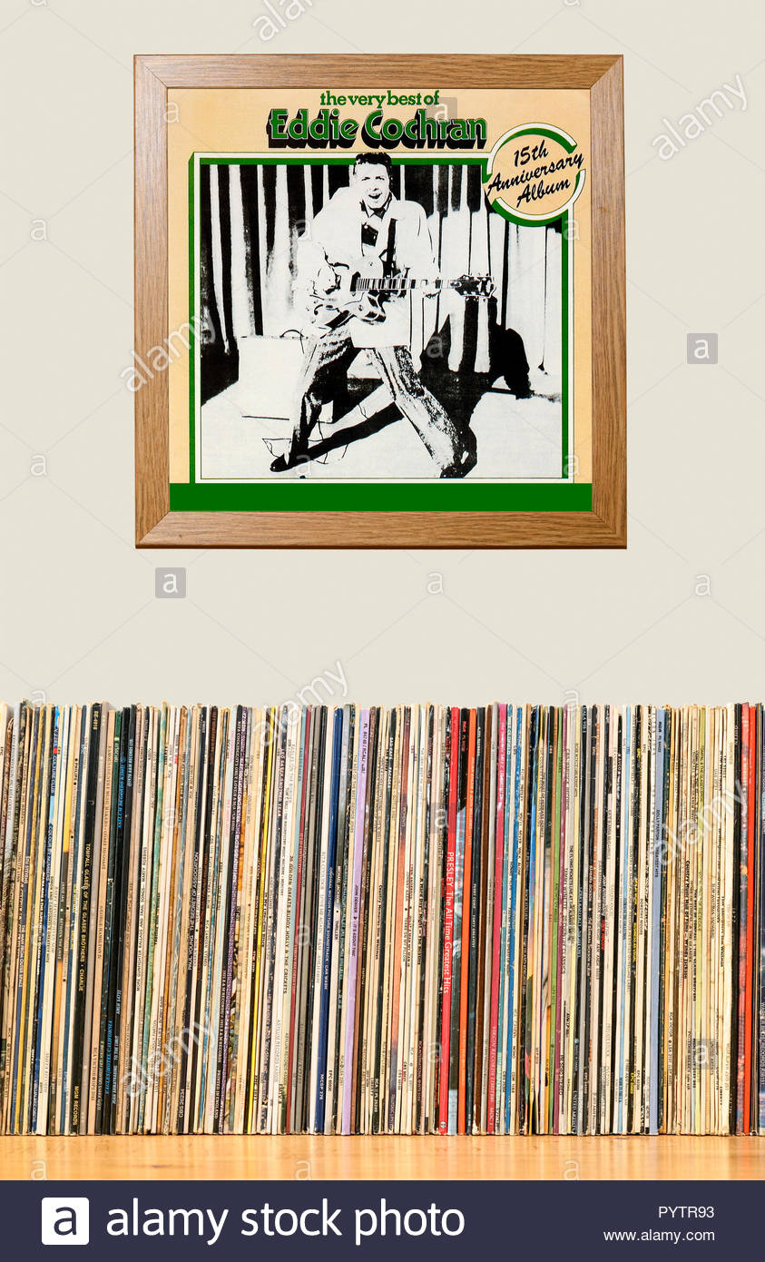 LP Collection and framed Eddie Cochran best of album, England - Stock Image