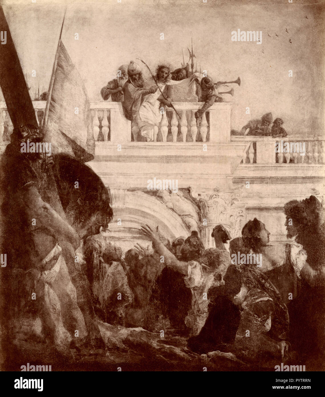 Via Crucis Station One, painting by G.B. Tiepolo, Frari Church, Veince, Italy 1880s - Stock Image