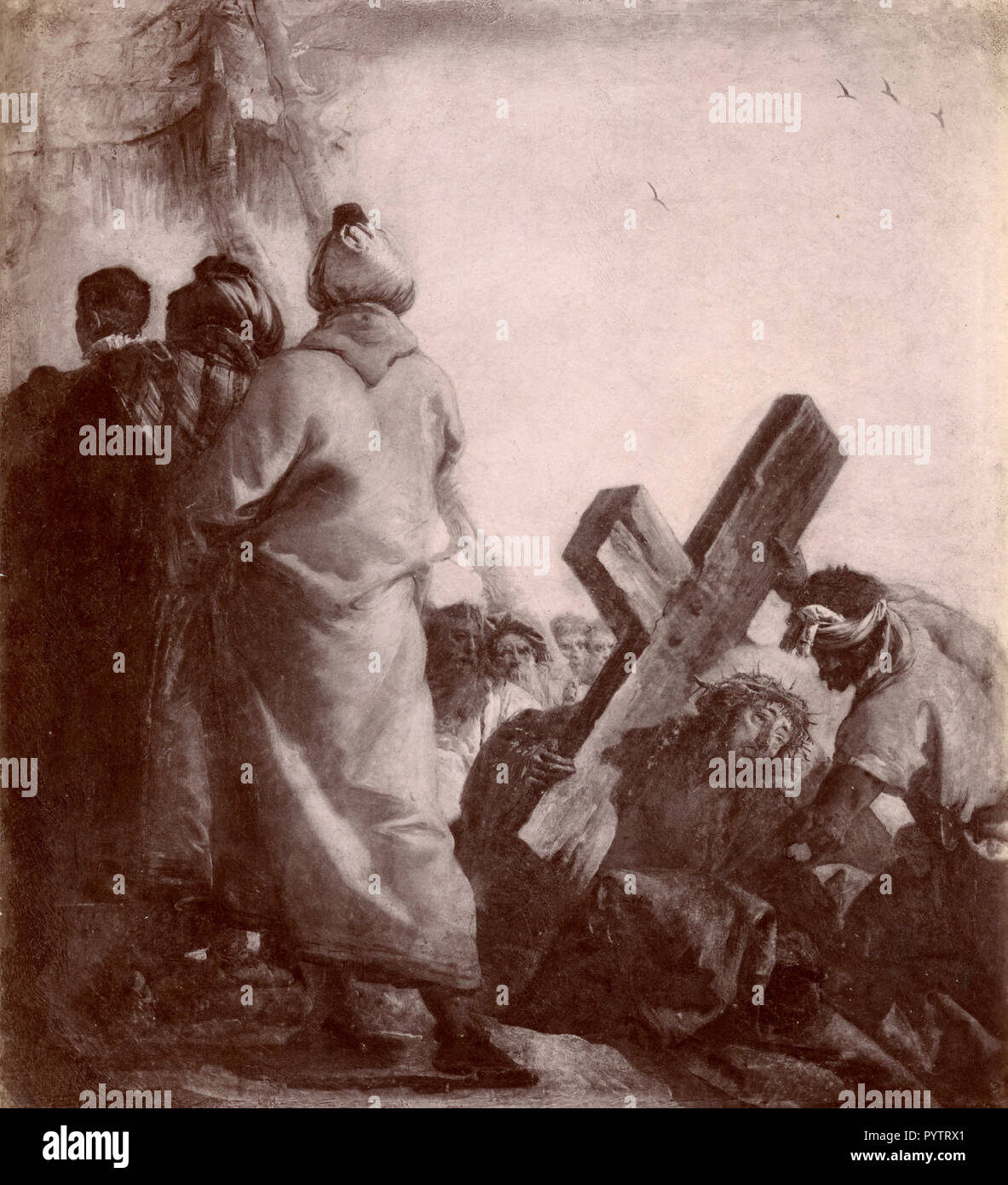 Via Crucis Station Five, painting by G.B. Tiepolo, Frari Church, Veince, Italy 1880s - Stock Image